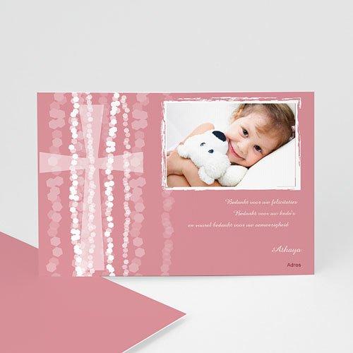 Bedankkaart doopviering meisje - Roze rozenkrans en kruis 13243 thumb