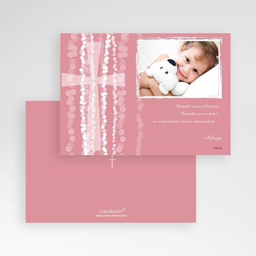Bedankkaart doopviering meisje - Roze rozenkrans en kruis 13244 thumb
