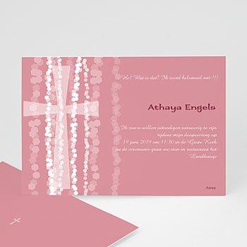 Doopkaartje meisje - Roze rozenkrans en kruis - 1