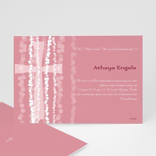 Doopkaartje meisje - Roze rozenkrans en kruis 13245 thumb