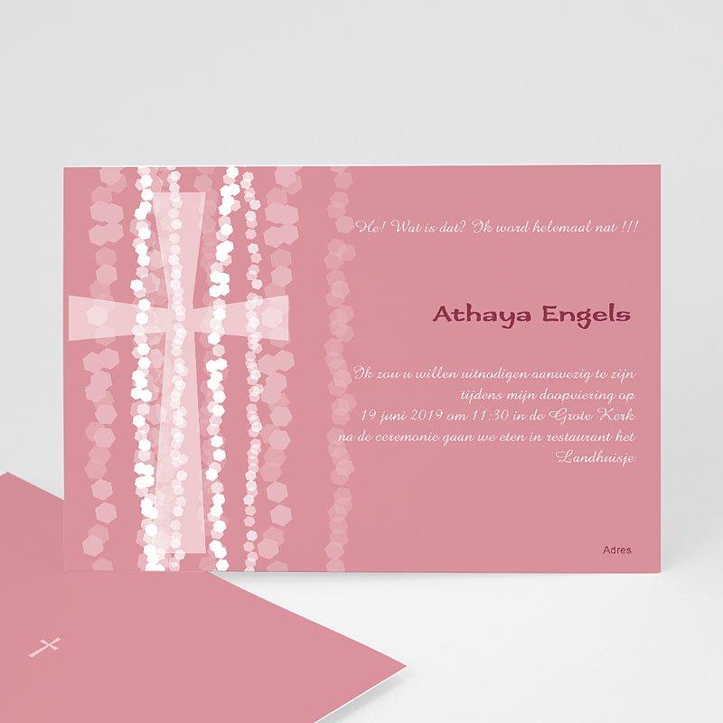 Doopkaartje meisje Roze rozenkrans en kruis