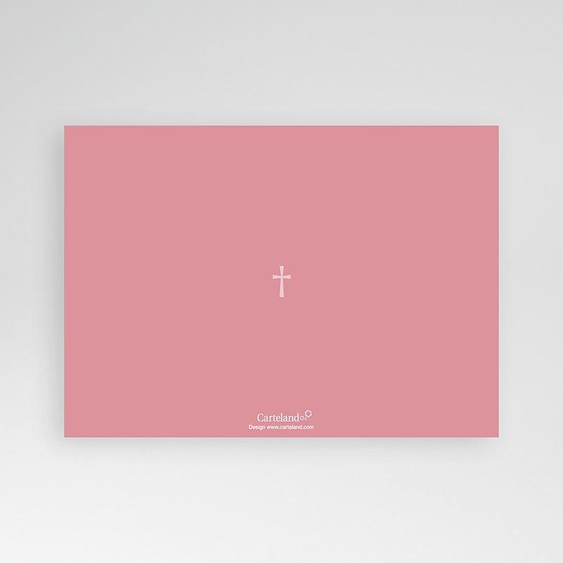 Doopkaartje meisje Roze rozenkrans en kruis pas cher