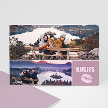 Fotokaarten met 2 foto's - Kusjes van ons - 1