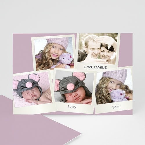 Multi fotokaarten, meerdere foto's - Zachtroze polaroid 13259 thumb