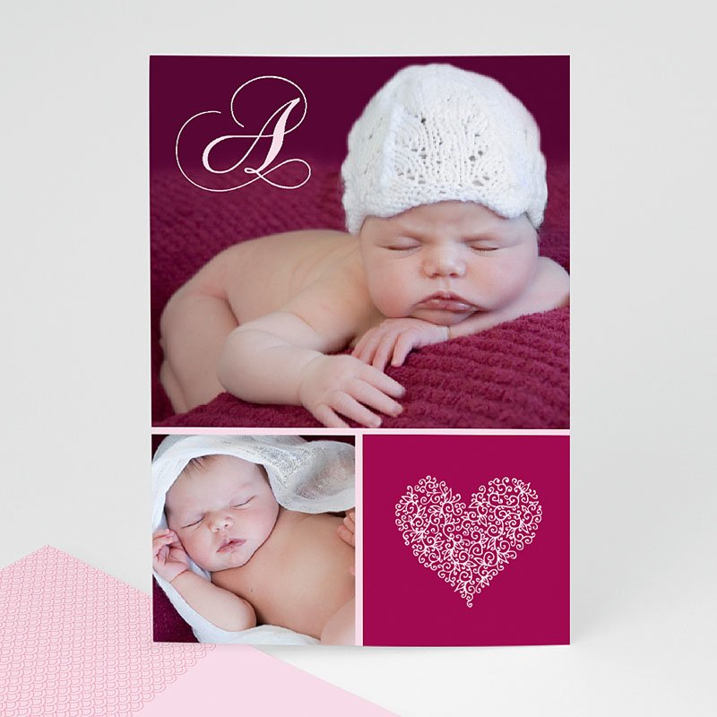 Fotokaarten met 2 foto's - Donker oudroze twee foto's in klassiek kader 13278 thumb
