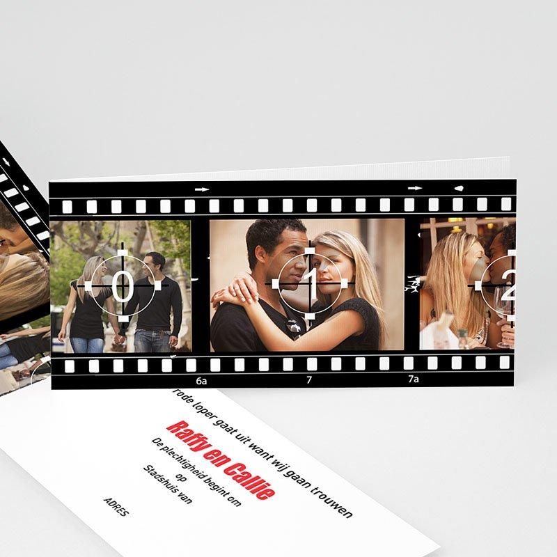Trouwkaarten Zwart Wit - Net als in de film 13305 thumb