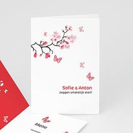 Personaliseerbare menukaarten huwelijk Magnolia roze