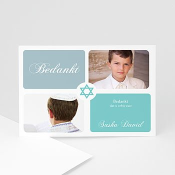 Bedankkaarten Bar mitsva - Mazzeltov blauw bedankkaart 4217 - 1