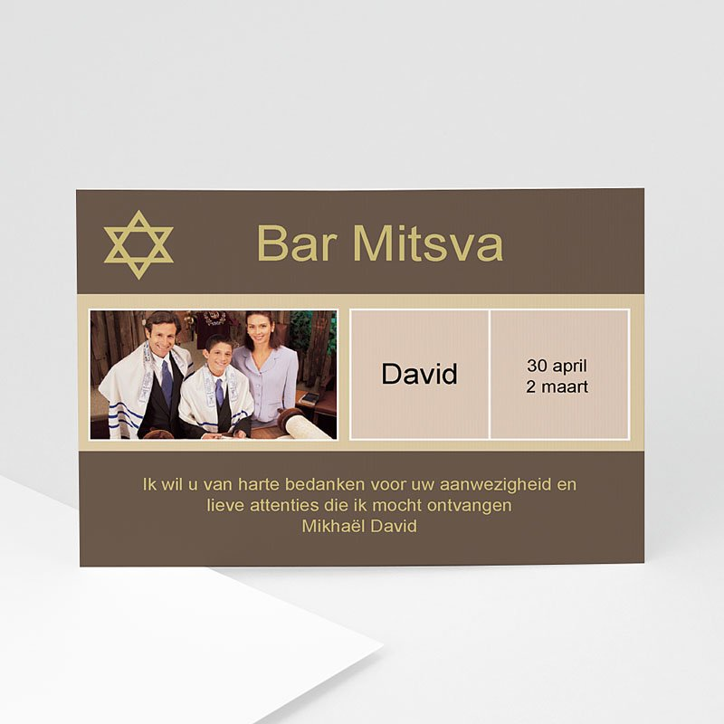 Bedankkaartjes Bar Mitsva Hod Hasharon