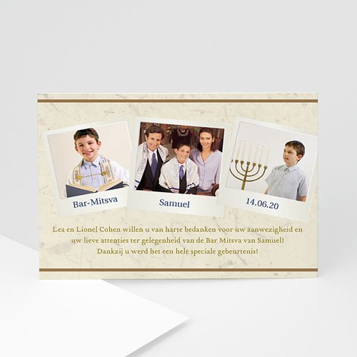 Bedankkaartjes Bar Mitsva Shalom Chaverim