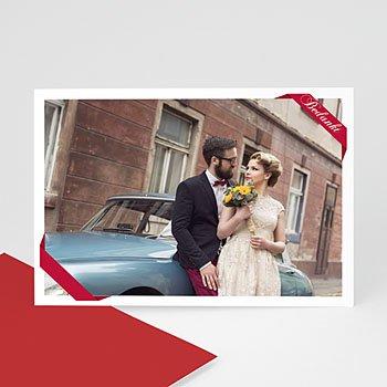 Fotokaart, 1 eigen foto - rood lint fotokaart 4259 - 1