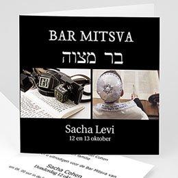 Aankondiging Bar Mitzvah Zwart tefilines