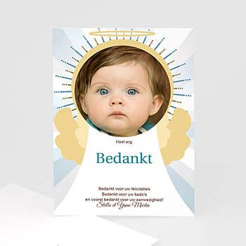 Bedankkaart doopviering jongen - doopkaartje 3472 - 1