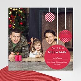 Wenskaarten Kerst Glitter bollen