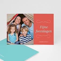 Wenskaarten Kerst Koraal en turquoise