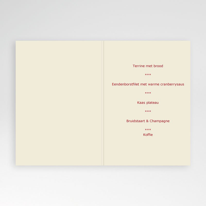 Personaliseerbare menukaarten huwelijk Romantisch menu pas cher