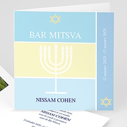 Bar mitsva uitnodiging Menorah