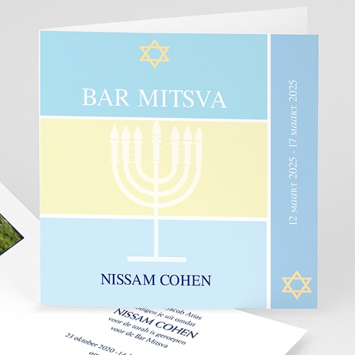 Bar mitsva uitnodiging - Menorah 13904 thumb
