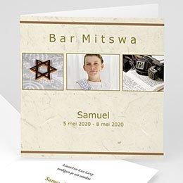 Aankondiging Bar Mitzvah Beige Bar Mitsva