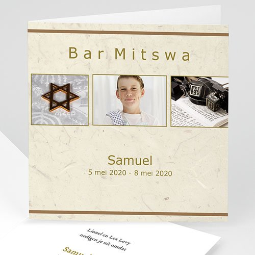 Bar mitswa uitnodiging - Beige Bar Mitswa 13939 thumb