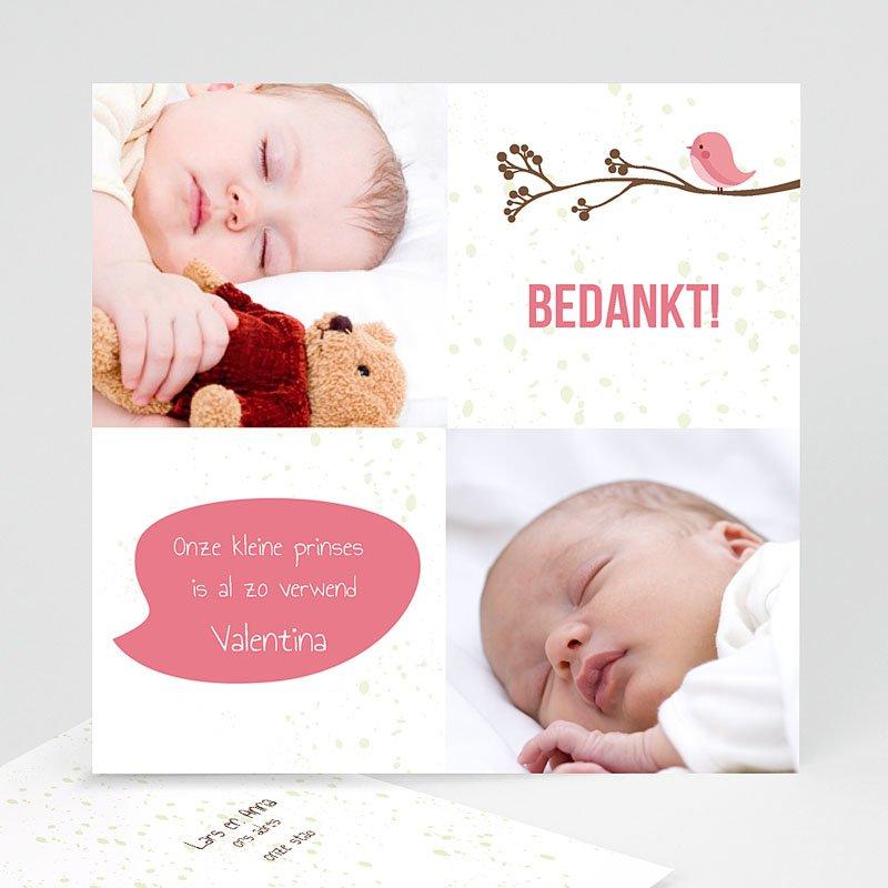 Bedankkaartje geboorte dochter Vogeltje Meisje