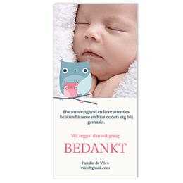 Bedankkaartje geboorte dochter Wijs kindje, roze