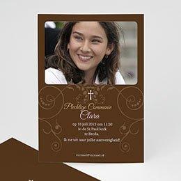 Aankondiging Confirmation Bruine tinten fotokaart eerste communie