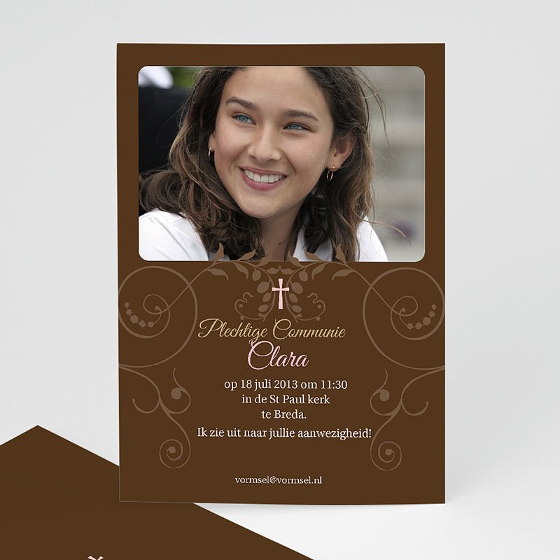 Vormsel - Bruine tinten fotokaart eerste communie 14670 thumb