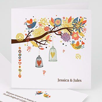 Personaliseerbare trouwkaarten - Vrolijke boom - 1