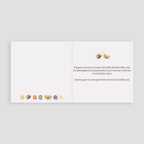 Personaliseerbare trouwkaarten - Vrolijke boom 15564 thumb