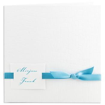 Archief - JS-212 - Uitnodiging kroko wit, lint blauw - 5