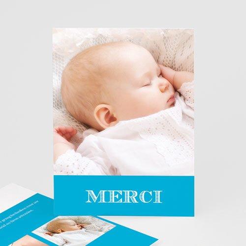 Bedankkaart doopviering jongen - Typo blauw 15964 thumb