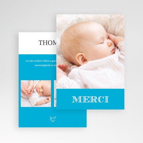 Bedankkaart doopviering jongen - Typo blauw 15965 thumb
