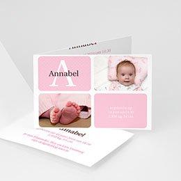 Aankondiging Geboorte Geluksgetal vier, roze