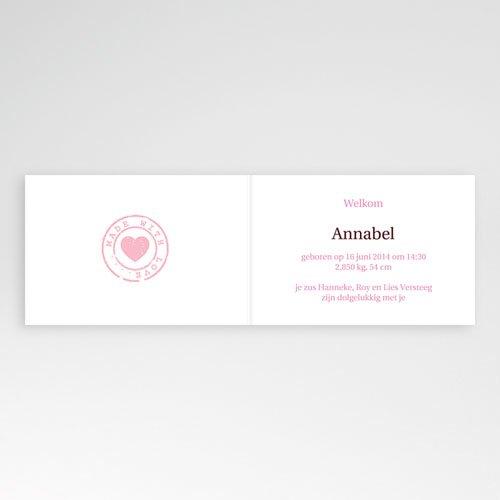 Geboortekaartje meisje Geluksgetal vier, roze pas cher