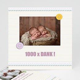 Bedankkaartje geboorte tweelingen Kindermaatje