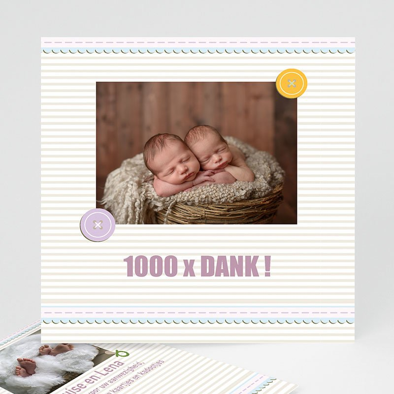 Bedankkaartje geboorte tweelingen - Kindermaatje 17360 thumb