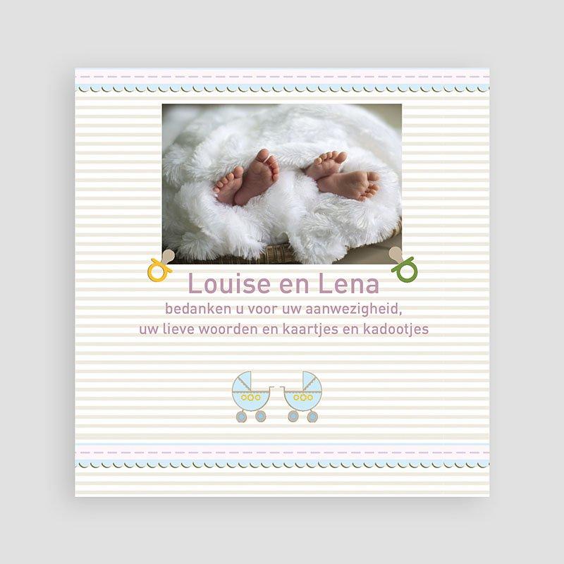 Bedankkaartje geboorte tweelingen - Kindermaatje 17361 thumb