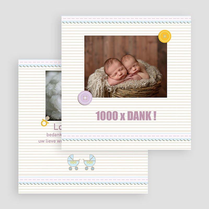 Bedankkaartje geboorte tweelingen - Kindermaatje 17362 thumb