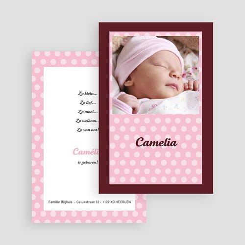 Geboortekaartjes Meisje Roze en chocolade gratuit