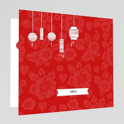 Trouwkaarten met foto Rode lampion gratuit