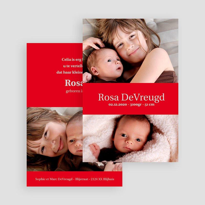 Geboortekaartje meisje - Fel rood 17785 thumb
