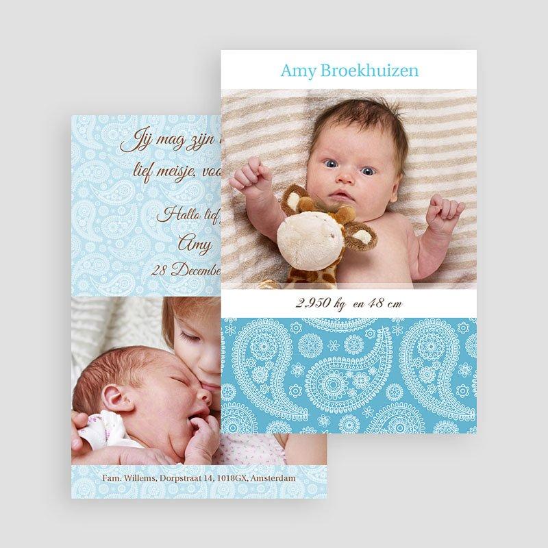 Geboortekaartjes Jongen Fel blauw gratuit