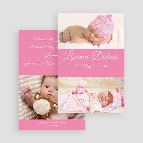 Geboortekaartje meisje Fel roze gratuit