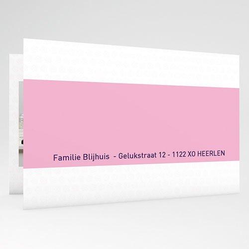 Geboortekaartje meisje - Drie foto's en design motief, roze 17855 thumb