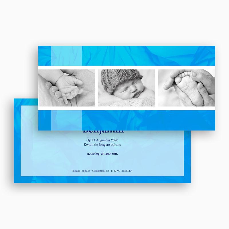 Geboortekaartje jongen - Ingelijst in blauw 17898 thumb