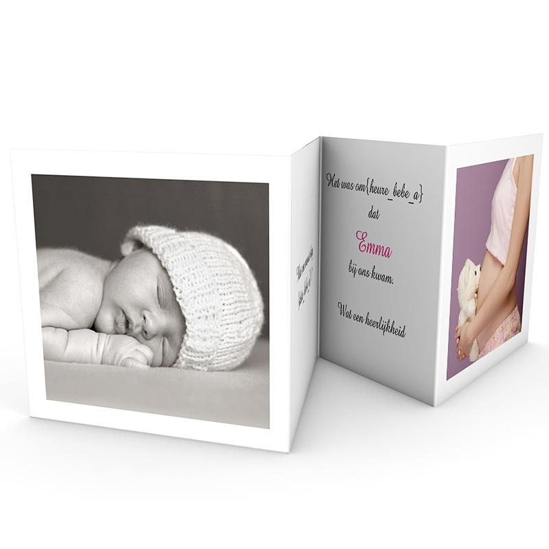 Geboortekaartje meisje - Uitvouwen en knuffelen 17985 thumb
