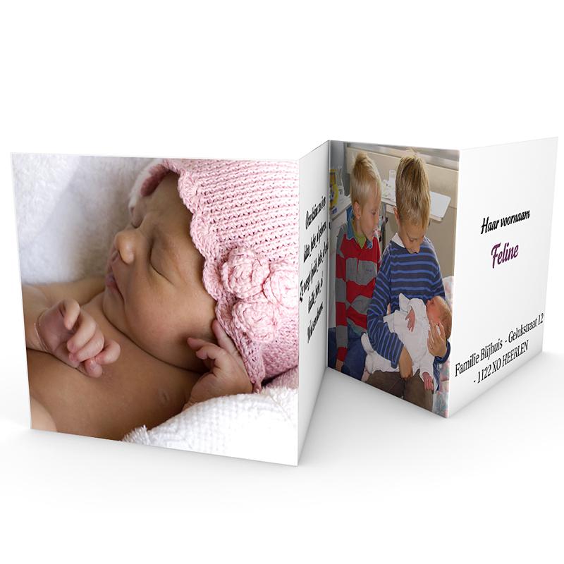 Geboortekaartje meisje - Liefdevol vierluik, rood-roze 18019 thumb