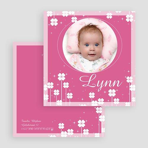 Geboortekaartje meisje - Roze klavertjes vier 18111 thumb