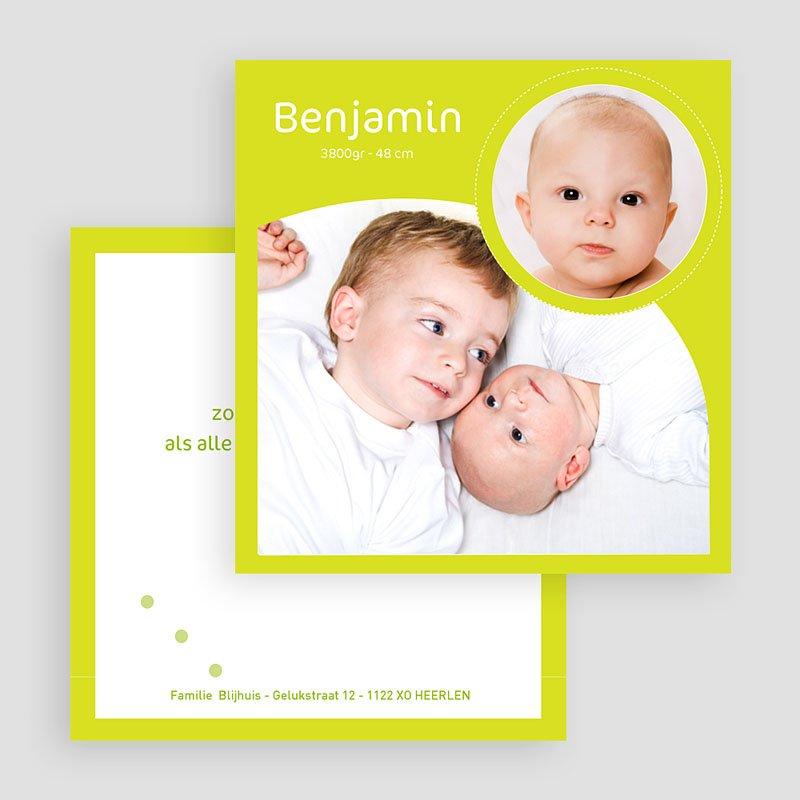 Geboortekaartjes Meisje Rond en vierkant geelgroen gratuit